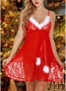 Sexy Women Santa Christmas Babydoll Set Fur Trim Mesh G-string Lace Backless Costume Lingerie Dress