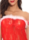 Lencería Sexy Mujeres Sheer Lace Mesh Fur Christmas Babydoll Traje Erótico Ropa de Dormir