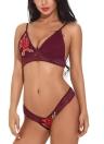 Mulheres Lingerie Sheer Lace Bra Set Floral Bordado Bralette Panties Underwear