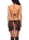 Ensemble de lingerie trois pièces pour femme Halter Bralette Jupe auto-cravate avec G-String Nightwear