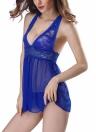 Femmes Dentelle Bodydoll Lingerie Robe de nuit avec G-String Teddy Chemise Set