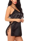Mulheres Lingerie Satin Cami Sleep Dress Chemise Slip Dress Nightwear Roupa de dormir com G-String