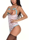 Mulheres Bodysuit Sheer Lace Garter Teddy Lingerie Jumpsuit Erotic Sleepwear