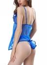 Women Mesh Babydoll Ruffles Tail Backless G-String Bunny Voile Chemise Sleepwear Lingerie