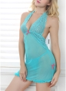 Women Sheer Lace Mesh Babydoll  Ruffles G-String Chemise Dress Sleepwear Lingerie