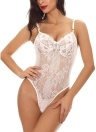 Lace Mesh High Cut Sheer Teddy Lingerie