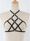 Sujetador de la jaula de la ropa interior de las mujeres Halter Ninguno Cup Strappy Elastic Bandage Bodycon Underwear