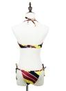 Nuova moda donne Halter Bikini Set contrasto striscia ferretto imbottito Coppa cravatta lato inferiore costume da bagno giallo