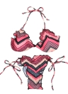 Women Wave Stripe Halterneck Padded Cup Bikini Set