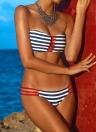 Сексуальная женщин без бретелек набор контраст полоса сверху снизу пляж бикини Купальники Купальник Купальник темно-синий