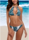 Bikini con scollo a farfalla e stampa floreale