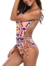 Mulheres One Piece Swimsuit Print Lace Up Cintura Bikini Swimwear Beach Bathing Suit
