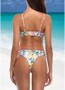 Bikini con collo alto e stampa floreale