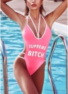 Plunge V Neck High Cut lettres impression Backless One Piece maillot de bain