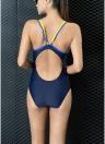 Costume da bagno intero da gara da reggiseno sportivo con cinturino sportivo a contrasto aperto