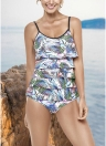 Women One Piece Swimsuit Backless Swimwear Leaf Print Ruffle Layer Bathing Suit