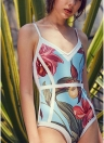 Leaf Backless Sleeveless Padding Wireless One-Piece Swimwear