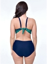 Plus Size Contrast Printed Push Up Triangular  Two Piece Bikini Set