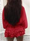 Maniche lunghe da donna in chiffon con maniche a pipistrello in rilievo