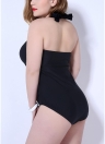 Plus Size Halter Ruched Lace-Up Wireless One-Piece Swimsuit