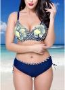 Plus Size Floral Print Underwire Padding Bikini Set