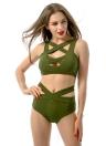 Sexy Women Bikini Set Cut Out Front Deep V-Neck Sleeveless High Waist Bottom Bathing Suit Red/Green