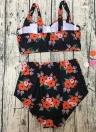 Bikini con stampa floreale a vita alta push-up biquini