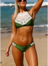 Velvet Crochet Lace Halter Neck Push Up Low Waist Bikini Set