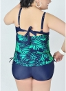 Large Size Print Backless Padded Push Up Swimsuit