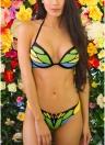 Costume da bagno da donna Butterfly Print Contrast Collo in cotone imbottito con costumi da bagno
