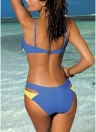 Mulheres Two Pieces Bikini Swimsuits Color Block Twist Front Hollow Out Bottom
