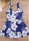 Women Plus Size Swimsuit Floral Print High Waist   One-Piece Bikini Swimwear