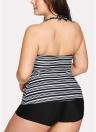 Costume da bagno da donna Plus Size Costume da bagno bikini a due pezzi con stampa a righe