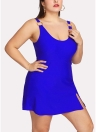 Women Plus Size One Piece Swimsuit Push Up Solid Swimwear Bathing Suit