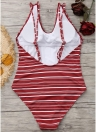 Mulheres Um pedaço Bikini Swimwear Listrado Backless Cross Bandage Swimsuits Beach Wear