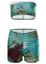 Mulheres Swimsuit Strapless Imprimir Shorts Bikini Set Swimwear Maiô