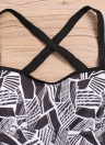 Women Plus Size  Tankini Set Geometric Print Shoulder Strap  Beachwear Swimwear Swimsuit