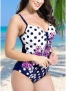 Femmes Plus Size Floral Dot Maillot de bain Cut Out Plunge Backless Plunge Monokini