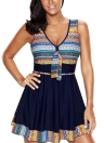 Mulheres Plus Size Tribal Imprimir Tankini Swimsuit Push Up Skirted Swim Dress