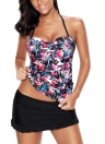 Women Plus Size Floral Halter Bikini Swimsuit Criss Cross  Tankini Skirt Set