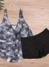 Costumi da bagno da donna Plus Size in foglia di palma Set di costumi da bagno da uomo in due pezzi