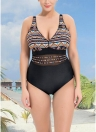 Mulheres Plus Size One Piece Maiô Swimwear Tribal Imprimir Malha Terno de Banho