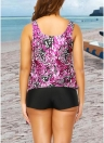 Women Plus Size Push Up Tankini Swimsuit Padded Swimwear Printed  Bathing Suit