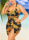 Women Plus Size Swimwear Dress Halter Swimsuit Backless Push Up Bathing Suit