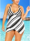 Plus Size Stars Stripes Imprimir oco Out frente Bikini Set