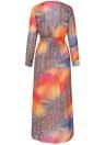 Chiffon Leopard contraste cor Split Cardigan Kimono praia Maxi Coverups