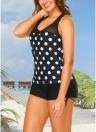 Sport Tank Top Boxer Polka Dot Imprimir Racer Voltar Sem Fio Push Up Two Piece Set