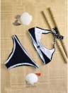 Contrast Padded Bra Swimsuit Bathing Suit Push-Up Beachwear Set