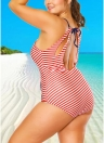 Plus Size Halter Bandeira Listrada Oco Out One Piece Swimsuit