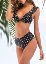 Dot Print Rüschen Push Up BH Hohe Taille Bikini Set